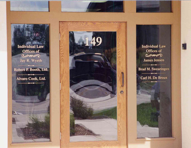 A striking effect! To carry the \ Old Time\  theme on the windows of this meat market established in the 1890s we used a vintage font with 22KT SignGold for ... & Windows \u0026 Door Graphics